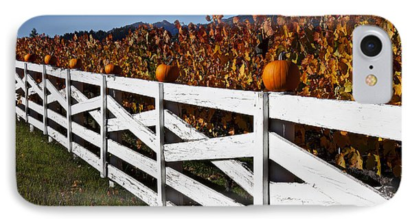 White Fence With Pumpkins Phone Case by Garry Gay