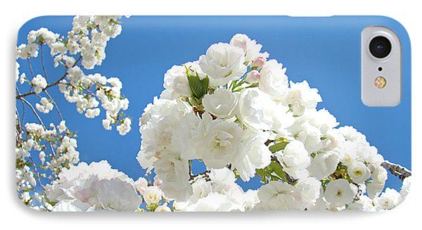 White Floral Blossoms Art Prints Spring Tree Blue Sky Phone Case by Baslee Troutman