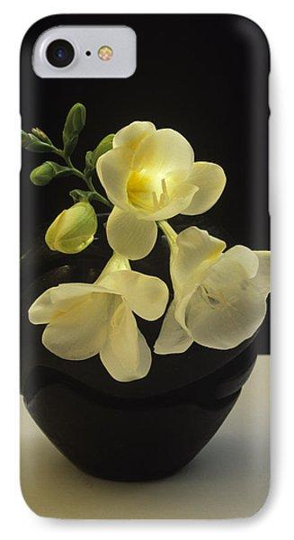 White Freesias In Black Vase IPhone Case by Susan Rovira