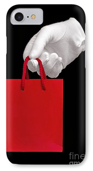 White Glove Holding A Red Gift Bag Phone Case by Richard Thomas