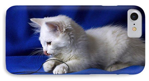 White Kitty On Blue Phone Case by Raffaella Lunelli
