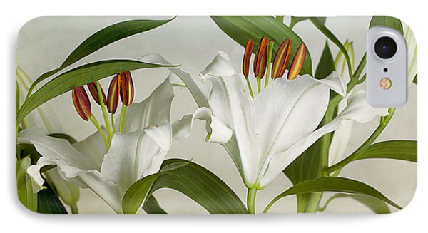 White Lilies IPhone Case by Nailia Schwarz