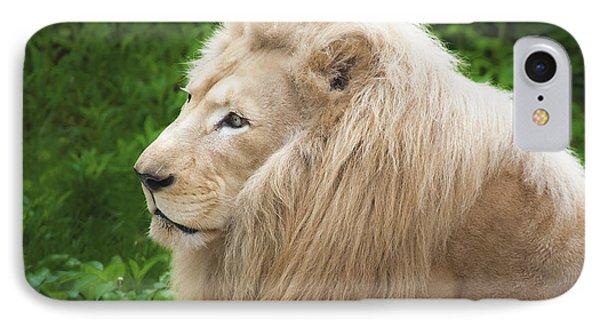 White Lion Phone Case by Jen Morrison