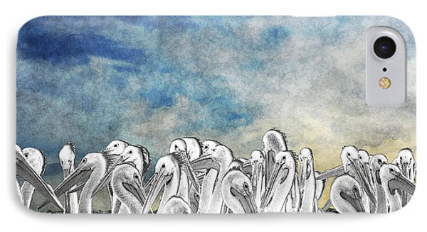 White Pelicans In Group IPhone Case by Dan Friend