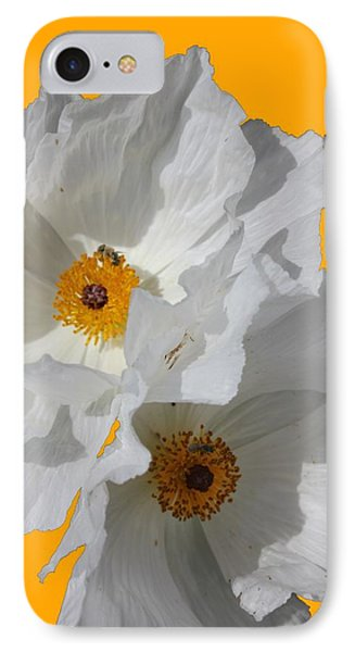 White Poppies On Yellow IPhone Case by Betty Northcutt