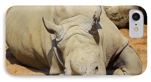 White Rhino Resting In The Sun Phone Case by Gabriela Insuratelu