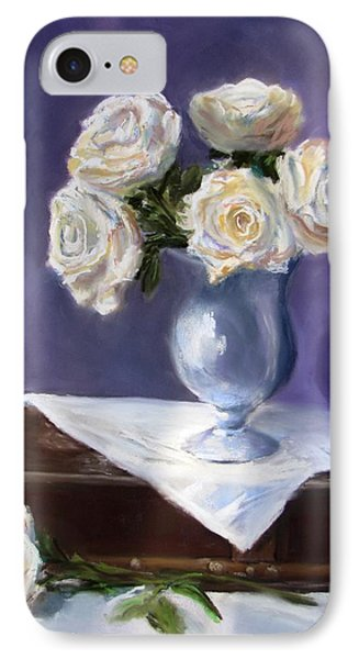 White Roses In A Silver Vase Phone Case by Jack Skinner