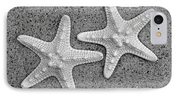 White Starfish In Black And White Phone Case by Sandi OReilly