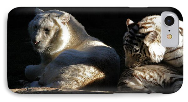 IPhone Case featuring the photograph White Tiger And Lion by Kate Purdy