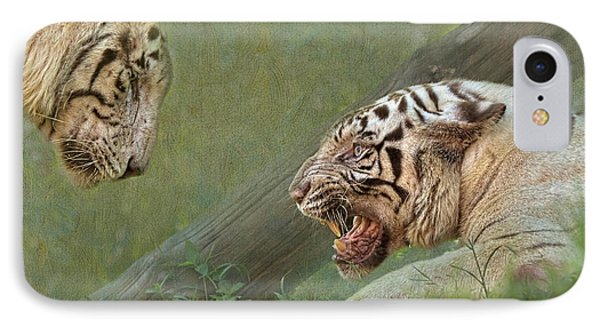 White Tiger Growling At Her Mate IPhone Case