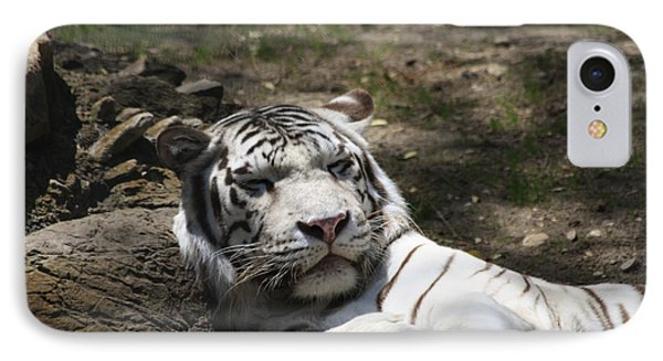White Tiger IPhone Case by Jerry Bunger