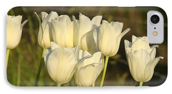 White Tulip Flowers Art Prints Spring Green Garden Phone Case by Baslee Troutman