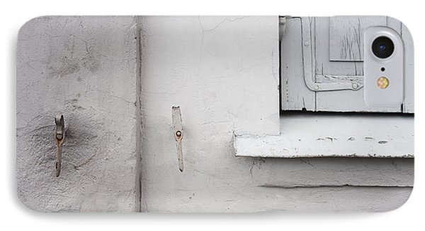 White Wall Gray Shutters IPhone Case by Agnieszka Kubica