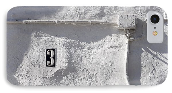 IPhone Case featuring the photograph White Wall With Number 3 Plate by Agnieszka Kubica