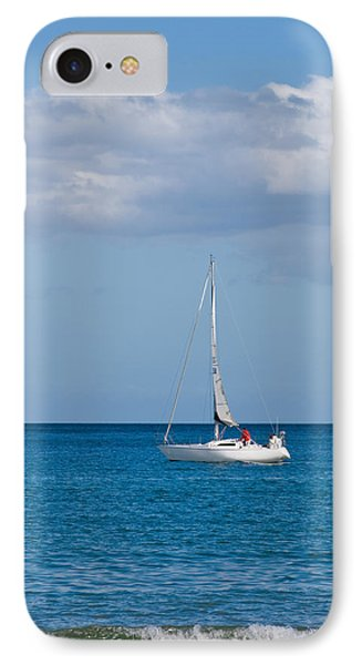 White Yacht Sails In The Sea Along The Coast Line Phone Case by Ulrich Schade