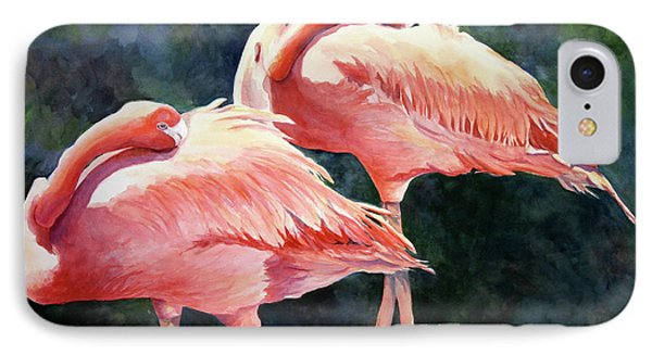 IPhone Case featuring the painting Who's Peek'n - Flamingos by Roxanne Tobaison