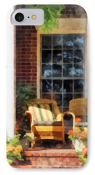 Wicker Chair With Striped Pillow Phone Case by Susan Savad