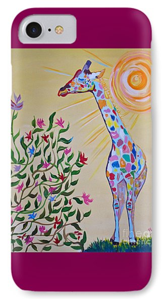 Wild And Crazy Giraffe IPhone Case by Phyllis Kaltenbach
