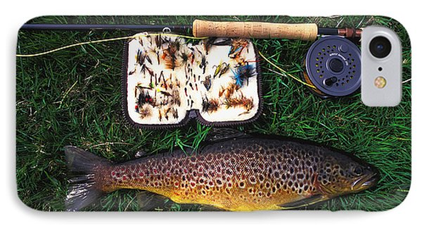 Wild Brown Trout And Fishing Rod Phone Case by Axiom Photographic