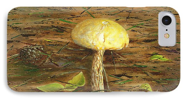 IPhone Case featuring the painting Wild Mushroom On The Forest Floor by Judy Filarecki