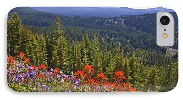 Wildflowers And Mountaintop View Phone Case by Ellen Thane and Photo Researchers