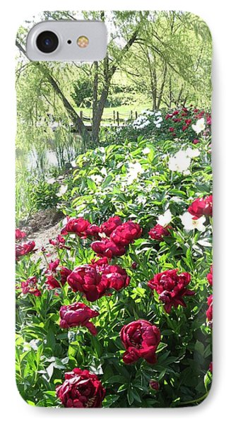 Willow Lake Peonies  IPhone Case by Rebecca Overton