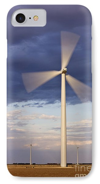 Wind Turbine Spinning At Dusk Phone Case by Jeremy Woodhouse