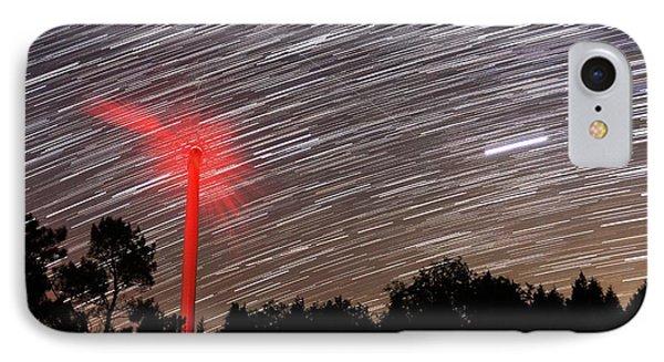 Wind Turbine Under Star Trails Phone Case by Laurent Laveder