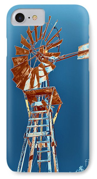 Windmill Rust Orange With Blue Sky IPhone Case by Rebecca Margraf