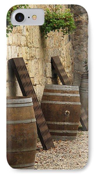 Wine Barrels And Racks In Saint Emilion France Phone Case by Greg Matchick