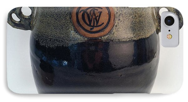 Wine Chiller Or Vase With Licorice And Light Beige Glaze  Phone Case by Carolyn Coffey Wallace