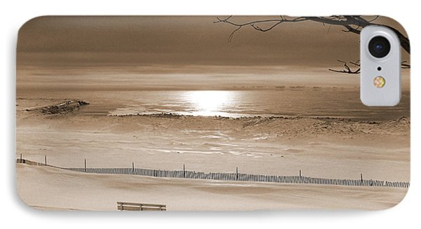 Winter Beach Morning Sepia IPhone Case