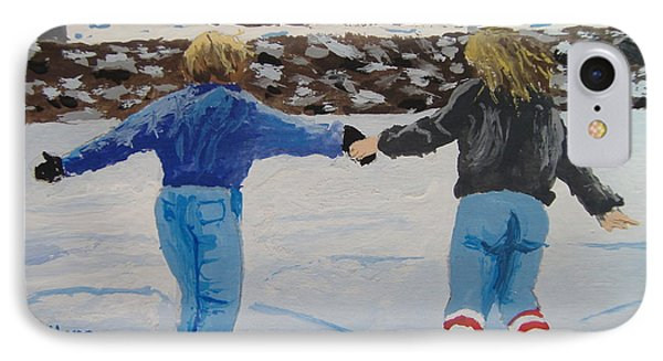IPhone Case featuring the painting Winter Fun by Norm Starks