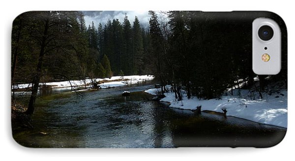 Winter Half Dome And The Merced River Phone Case by Jeff Lowe