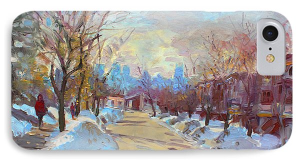 Winter In Silverado Dr Mississauga On IPhone Case by Ylli Haruni