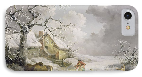 Winter Landscape With Men Snowballing An Old Woman IPhone Case by George Morland