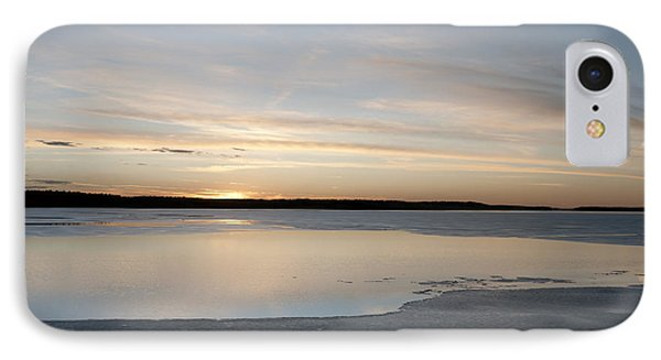 Winter Sunset Over Lake IPhone Case by Art Whitton