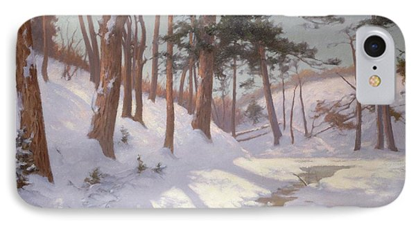 Winter Woodland With A Stream IPhone Case by James MacLaren