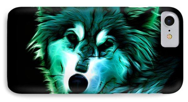 IPhone Case featuring the digital art Wolf - Cyan by James Ahn