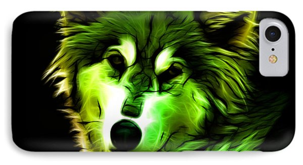 Wolf - Green IPhone Case by James Ahn