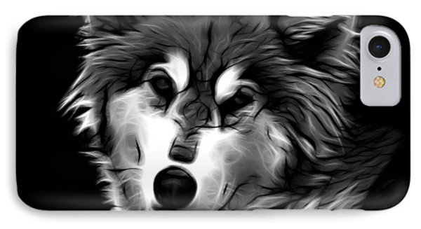 Wolf - Greyscale IPhone Case by James Ahn