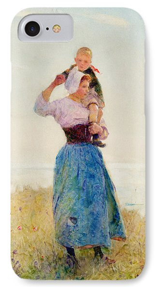 Woman And Child In A Meadow IPhone Case by Hector Caffieri