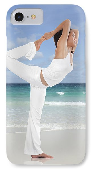 Woman Doing Yoga On The Beach Phone Case by Setsiri Silapasuwanchai