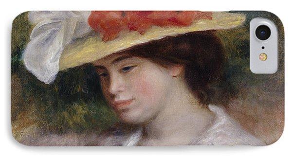 Woman In A Flowered Hat Phone Case by Pierre Auguste Renoir