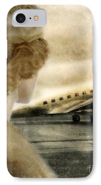 Woman In Fur By A Vintage Airplane Phone Case by Jill Battaglia