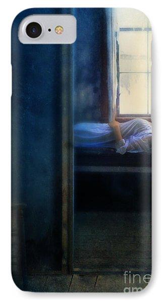 Woman In Nightgown In Bed By Window Phone Case by Jill Battaglia