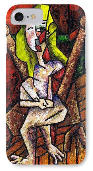 Woman On Wooden Chair Phone Case by Kamil Swiatek