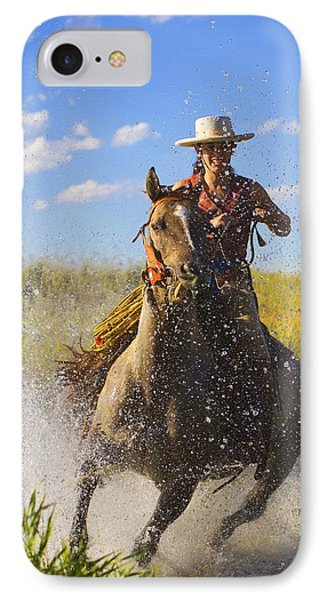 Woman Riding A Horse Phone Case by Richard Wear