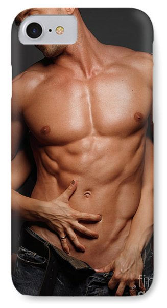 Woman Touching Muscular Man's Body Phone Case by Oleksiy Maksymenko