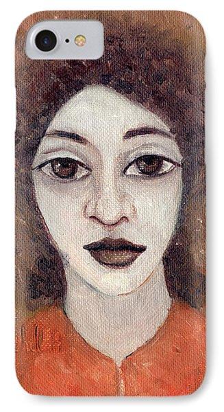 Woman With Large Dark Brown Eyes And Hair Orange Shirt Dark Eyebrows  IPhone Case by Rachel Hershkovitz